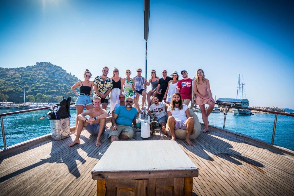 Go Sail Turkey group on boat bow